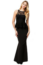 Ladies Tantalizing Mermaid Maxi Evening Gown Dress Black Large