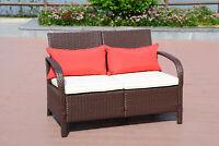 2 PC Wicker Rattan Furniture Bistro Set Loveseat Sofa Outdoor Patio Garden Chair