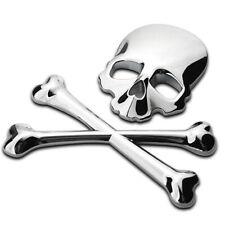 Car SUV Truck Metal 3D Silver Skull Head Logo Modified Emblem Sticker Decal