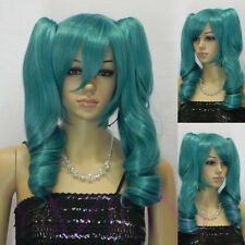 Lolita Green Blue 2 Clip-on Ponytail Long Wavy Cosplay Synthetic Hair Full Wig