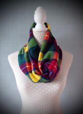 Red green tartan snood scarf, green yellow red cowl scarf, green red tartan loop
