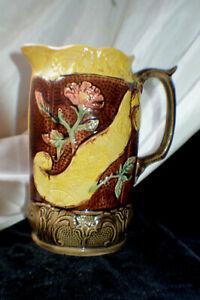 Antique Majolica Pitcher England C 1890 Porcelain Pottery Relief Floral Design