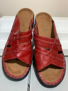 Clarks Red Leather Slip On Shoes Sz 8