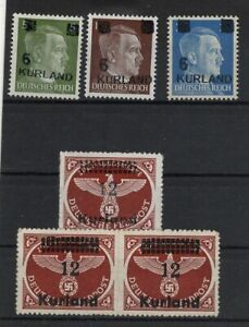 GERMANY TERRITORIES LATVIA 1945 KURLAND LOT OF 6 STAMPS MNH** -CAG 230621