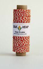 Natural Hemp Cord Pair Twine ORANGE/WHITE 20lb 1mm 205feet/62m 50gram Spool