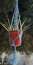 MACRAME PLANT HANGER 30in Vintage  ** SKY BLUE **