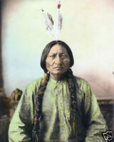 """SITTING BULL NATIVE AMERICAN SIOUX INDIAN 1884 8x10"""" HAND COLOR TINTED PHOTO"""