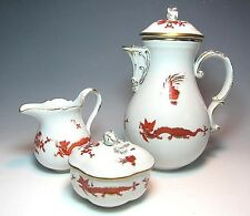 Antique Genuine MEISSEN Porcelain Coffee set-DRAGON Motif ,Cross Sword Mark