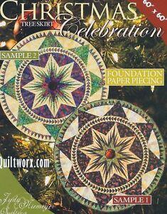 Christmas Celebration Tree  Skirt Paper Piecing Pattern