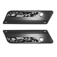 2 Saddlebag Latch Reflector Insert Decals for 93-13 Harley CHROME SKULL PILE S1