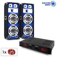 DJ PA Pack sono pro ampli set enceintes 3 voies 2x 25cm effet LED bleu Bluetooth