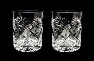 Set of 2 Russian Cut Crystal DOF Glasses 11 oz - Soviet Whiskey Old Fashioned