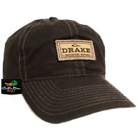 DRAKE WATERFOWL SYSTEMS 6 PANEL WAXED PATCH LOGO COTTON BALL CAP HAT BLACK OSFM