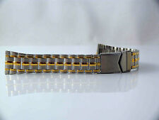 PREMIUM METAL WATCH BAND STAINLESS AND GOLD 20MM WIDE NEW