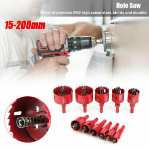 15 à 200mm M42 HSS Bi Métal Scie Cloche Coupeur  Percerensemble Pour Aluminium