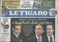 LE FIGARO n°20746 15/04/2011 Libye:tribune Sarkozy-Obama-Cameron_Cannes_Tablette