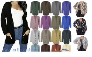 Grandad Cardigan Women's Ladies Chunky Cable Knit Cardigan 5Button Long Sleeves