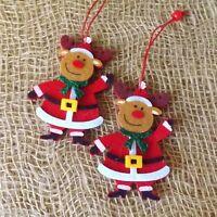 Pair Santa Snowman or Reindeer Hanging Christmas Tree Decorations Red Felt Set 2