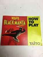WRATH OF THE BLACK MANTA Nintendo NES Instruction Manual Booklet Only!
