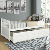 White Twin Size Daybed Captian Bed w/ Trundle Bed 3 Storage Drawers Wood Bed