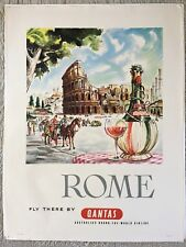 """Original Harry Rogers Qantas 1960s travel poster """"Rome Fly There By Qantas"""""""