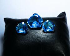 CS-0036 Blue Topaz Glass Stone Gemstone Fancy Faceted 26Cts Cabochon 3Pcs Set