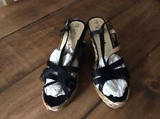 Evie Black Wedge Strappy Sandals Size 7 Worn Once Excellent Condition