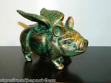Adorable  Aged Copper When Pigs Fly Flying Winged Pig Dime Penny Bank Cast Iron