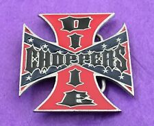 VTG RARE Southern DIXIE CHOPPERS Iron Cross Biker Harley Motorcycle BELT BUCKLE