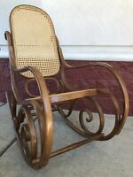 Thonet Signed Bentwood Ornate Rocking Chair - MCM Rattan - Free Local Delivery