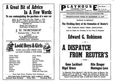 1940 Enosburg Falls VT Playhouse Movie Theater Program - A Dispatch From Reuters
