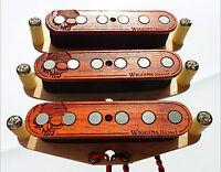 Wiggins Brand, hand wound Strat pickup set, Alnico, Wood, MADE TO ORDER