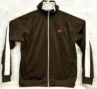 Nike Track Jacket Athletic Jacket Full Zip Men's Size 2XL XXL Brown White