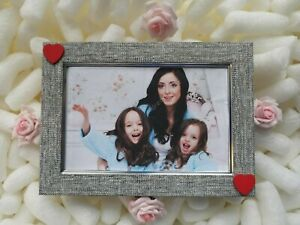 Grey / Silver Photo Picture Frame Red Love Heart Wedding Anniversary Gift