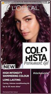 L'Oreal Colorista Dark Purple Permanent Hair Dye Gel Long-Lasting Hair Colour UK