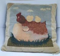 Tapestry Cushion Depicting Hen