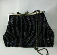 Vtg Seed Bead Evening Handbag purse Black Gray Brass Gold Tone Rhinestone Strap