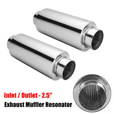 2x 2.5'' 63mm Inlet Outlet Exhaust Muffler Silencer Tail Pipe Resonator Stainles