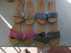 Chatties sandals with one solid strap with diamonds 5 colors & 4 sizes all new