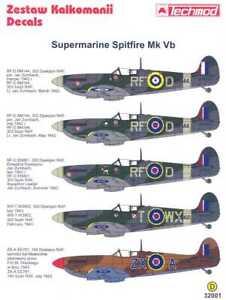 Techmod Decals 1/32 SUPERMARINE SPITFIRE Mk-Vb British Fighter