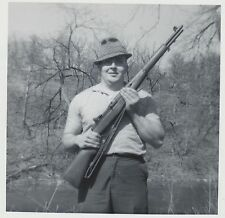NICE! Vtg 1965 Real Photo Man in Fedora Posing with M-1 Rifle on A Kodak Paper
