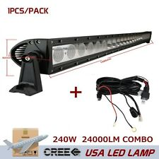 50inch 240W CREE LED Light Bar Combo Beam Offroad SUV FOG With wring Kit 10W/PC