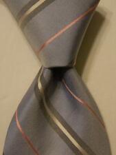 BLACK BROWN 1826 Men's 100% Silk Necktie Designer STRIPED Blue/Gray/Pink NWT