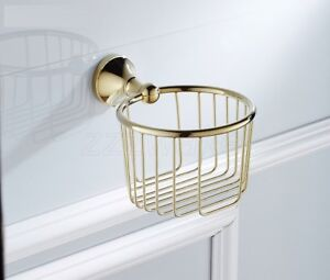 Gold Color Brass Paper Holder Toilet Roll Paper Rack Holder Wall Mounted ZD878
