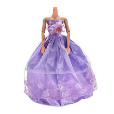 1 Pcs Wedding Dress Princess Gown for Barbies Purple Clothes for Kids Doll  GZ