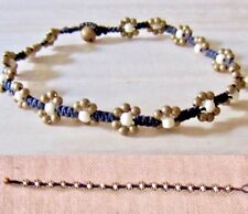 BEDED ANKLET BLACK COTTON WHITE STONE BRASS BEADS BEACH FASHION HIPPIE WOMEN NEW