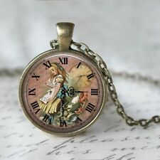 UK ALICE IN WONDERLAND PENDANT NECKLACE Vintage Style Jewellery Gift Idea Clock
