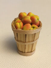 Vintage Dollhouse Miniature BASKET of PEACHES ARTIST Signed GAIL WISE