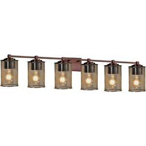 "Justice Design Group MSH-8426-10 Tetra 6 Light 49""W Bathroom - Bronze"