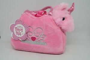 NEW Aurora Fancy Pals Pink Unicorn in Pink Crown Jewel Bag Soft Plush Toy